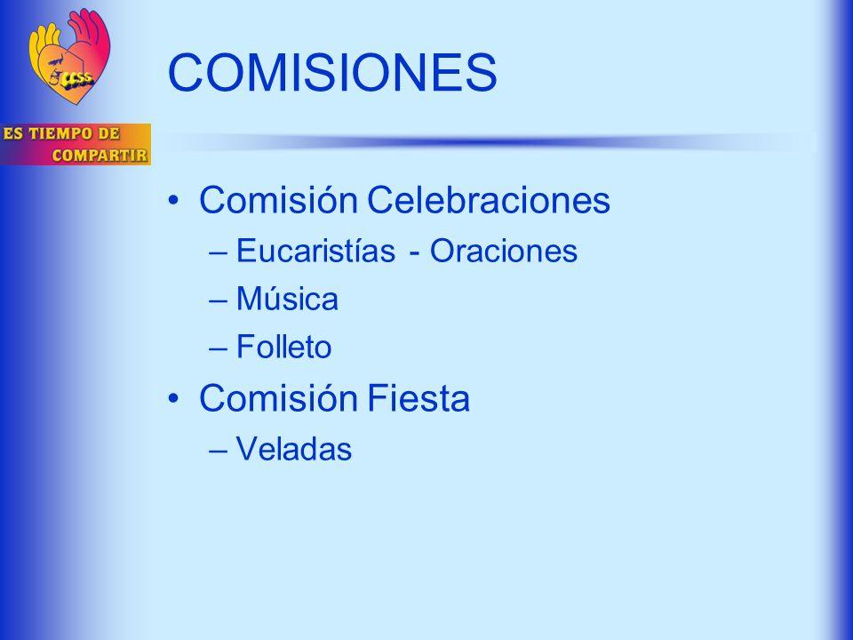 COMISIONES Comisión Celebraciones Comisión Fiesta