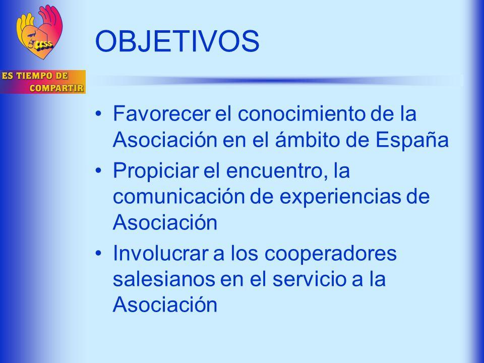 OBJETIVOS Favorecer el conocimiento de la Asociación en el ámbito de España. Propiciar el encuentro, la comunicación de experiencias de Asociación.