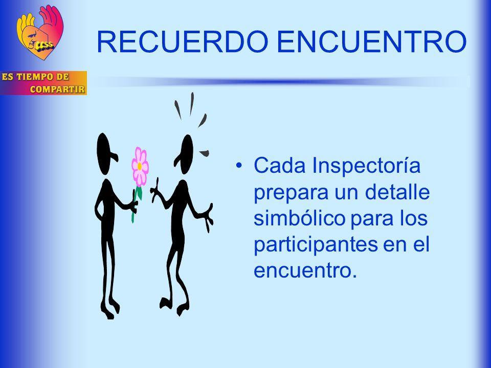 RECUERDO ENCUENTRO Cada Inspectoría prepara un detalle simbólico para los participantes en el encuentro.