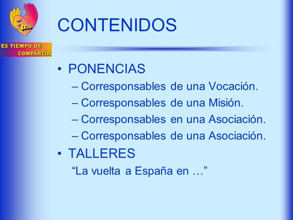 CONTENIDOS PONENCIAS TALLERES Corresponsables de una Vocación.