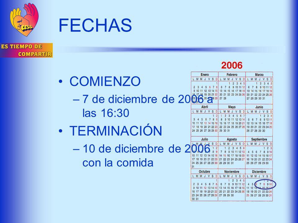 FECHAS COMIENZO TERMINACIÓN 7 de diciembre de 2006 a las 16:30