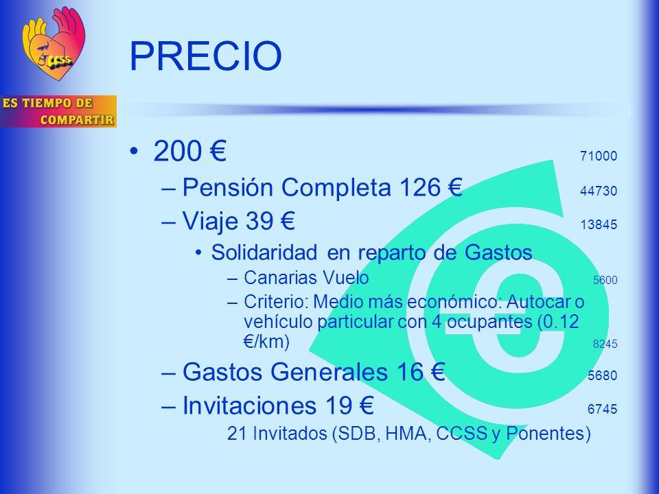 PRECIO 200 € 71000 Pensión Completa 126 € 44730 Viaje 39 € 13845