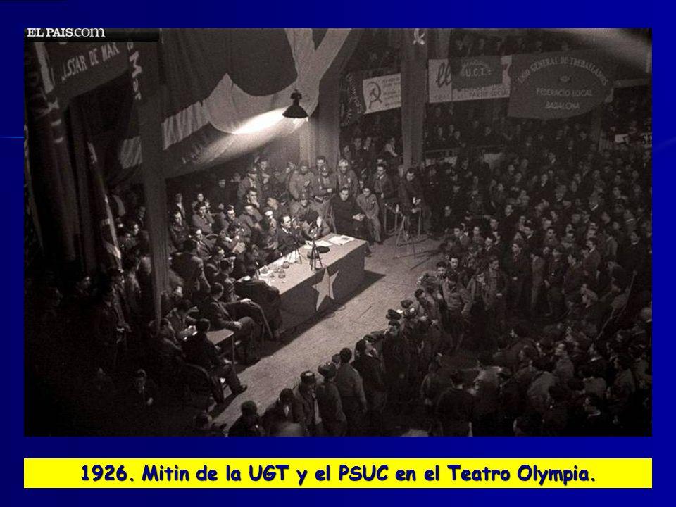1926. Mitin de la UGT y el PSUC en el Teatro Olympia.