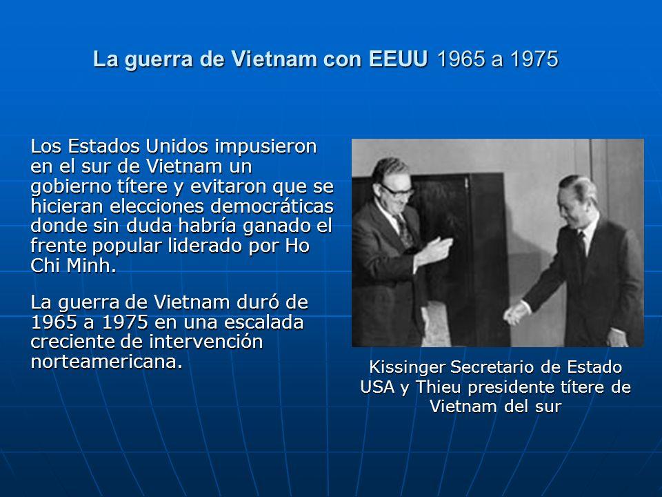 La guerra de Vietnam con EEUU 1965 a 1975