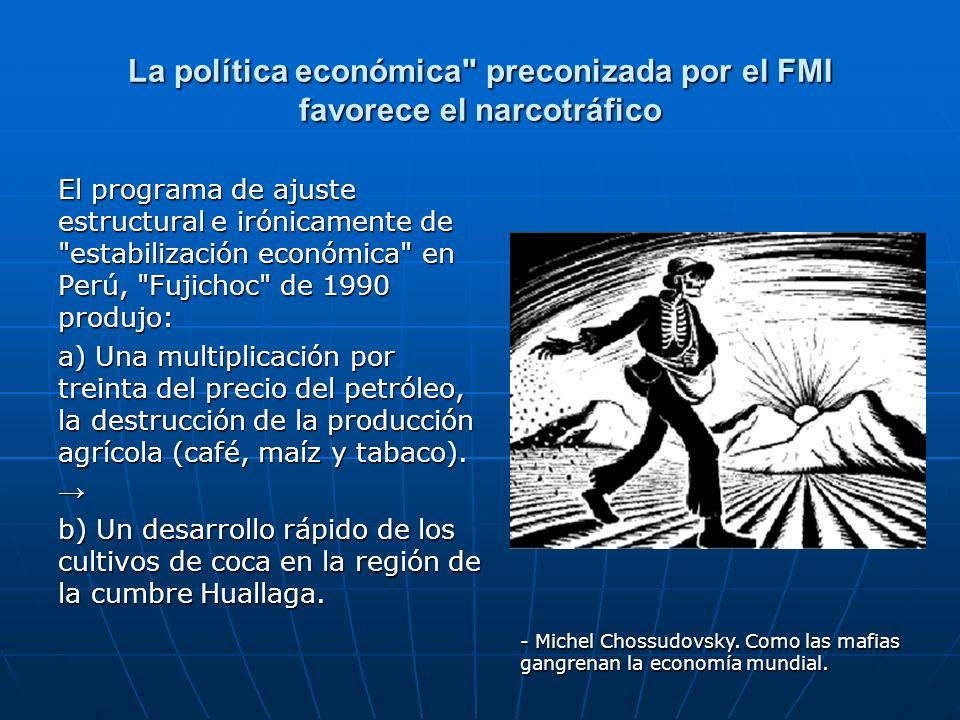 La política económica preconizada por el FMI favorece el narcotráfico