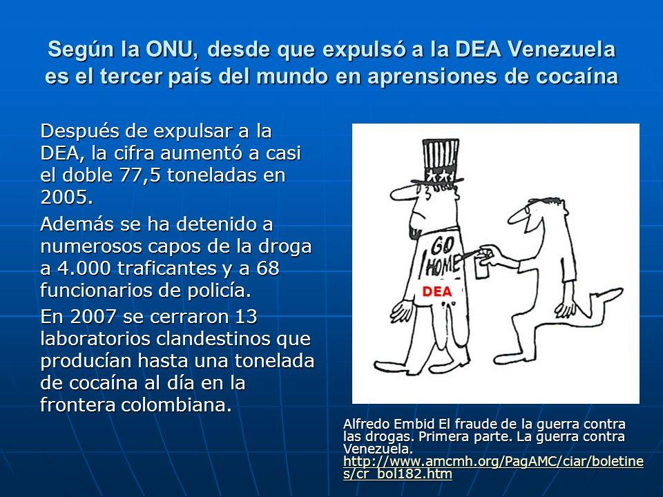 Según la ONU, desde que expulsó a la DEA Venezuela es el tercer país del mundo en aprensiones de cocaína