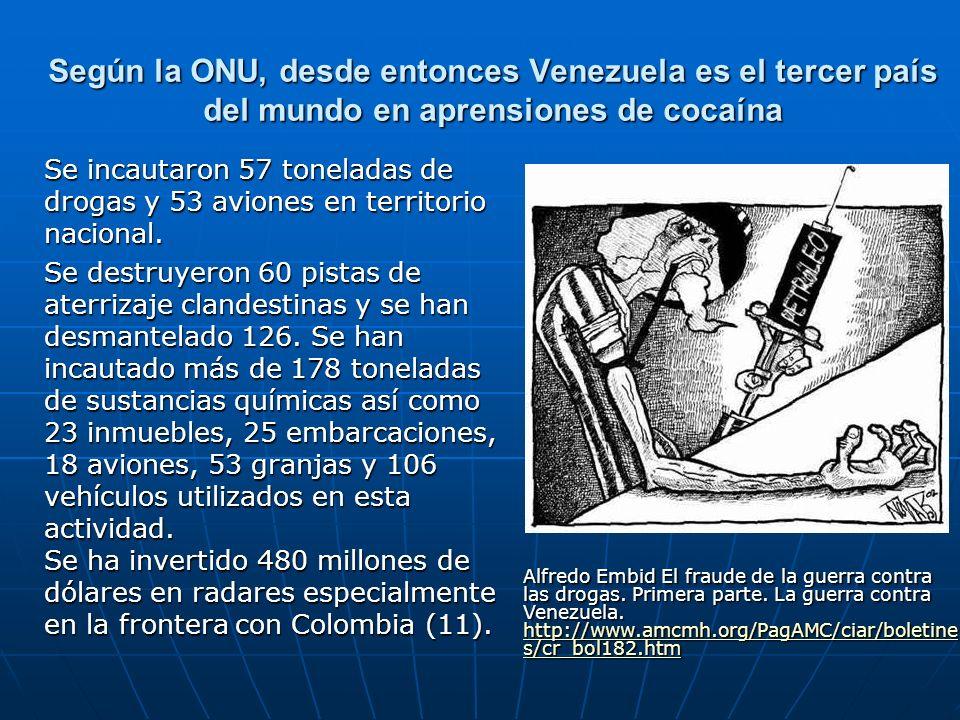 Según la ONU, desde entonces Venezuela es el tercer país del mundo en aprensiones de cocaína