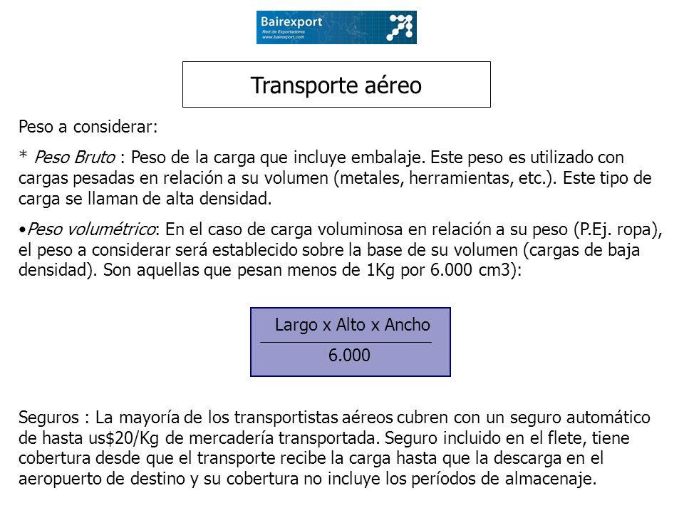 Transporte aéreo Peso a considerar: