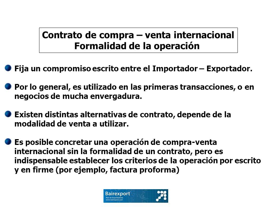 Contrato de compra – venta internacional Formalidad de la operación