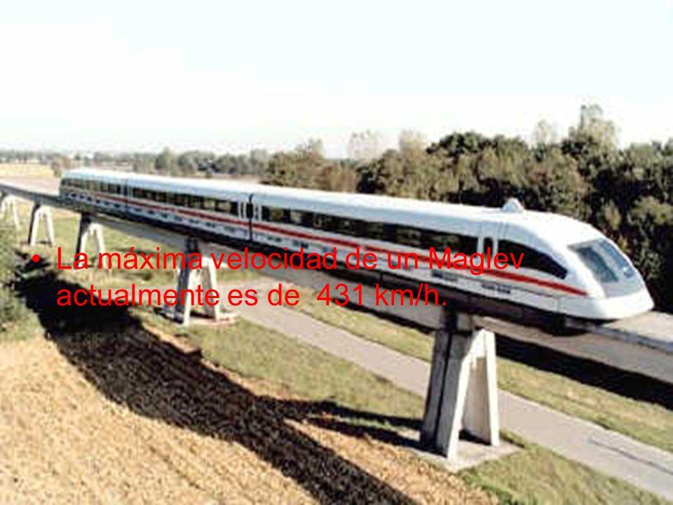 La máxima velocidad de un Maglev actualmente es de 431 km/h.