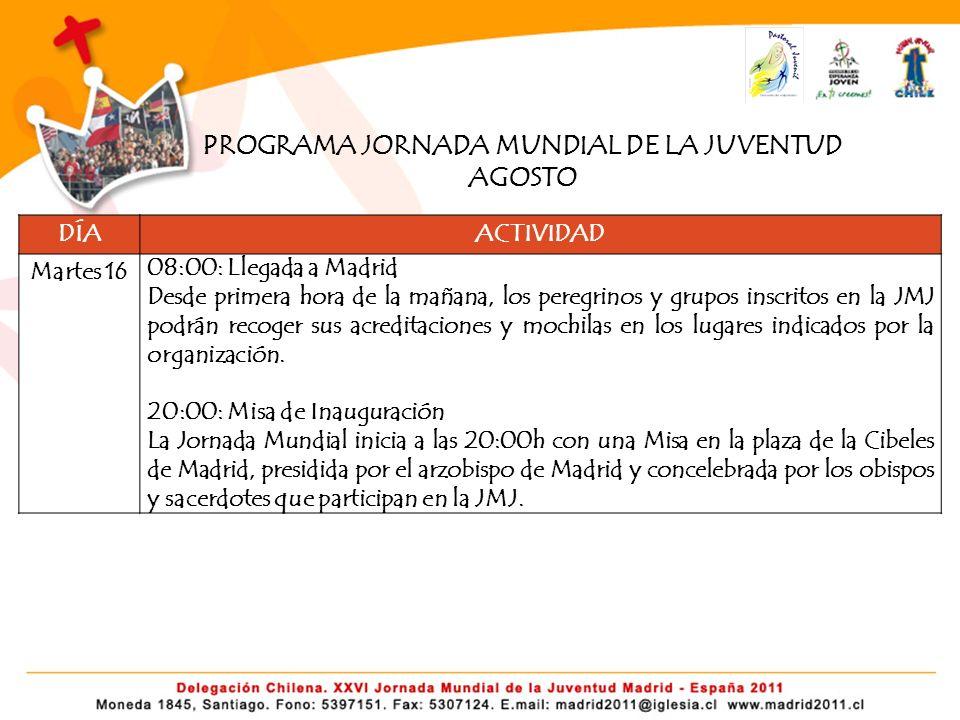 PROGRAMA JORNADA MUNDIAL DE LA JUVENTUD