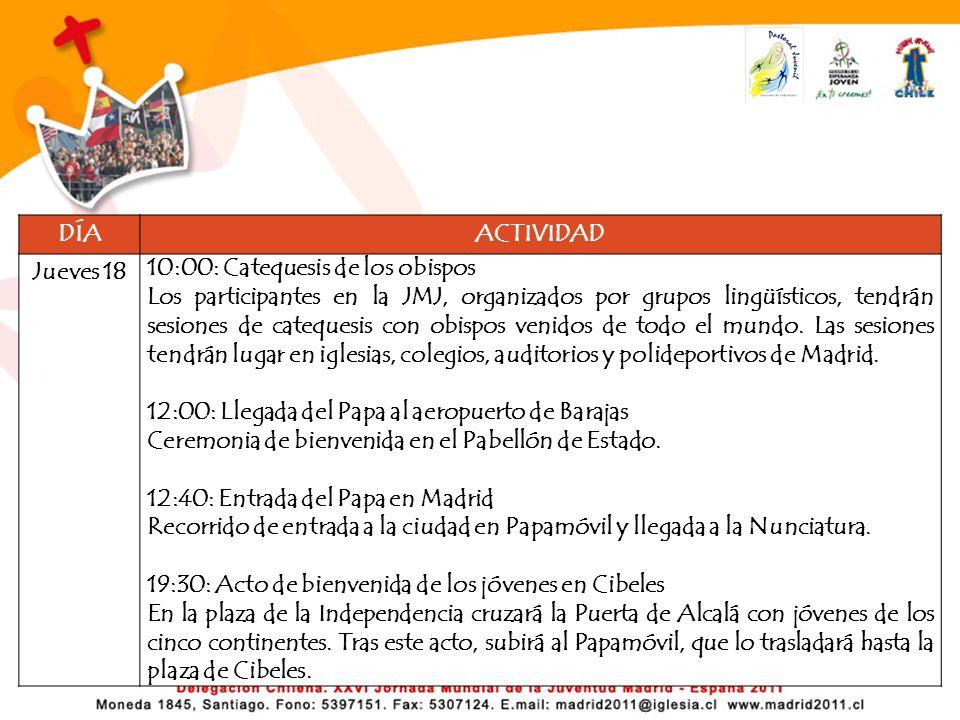 DÍA ACTIVIDAD. Jueves 18. 10:00: Catequesis de los obispos.
