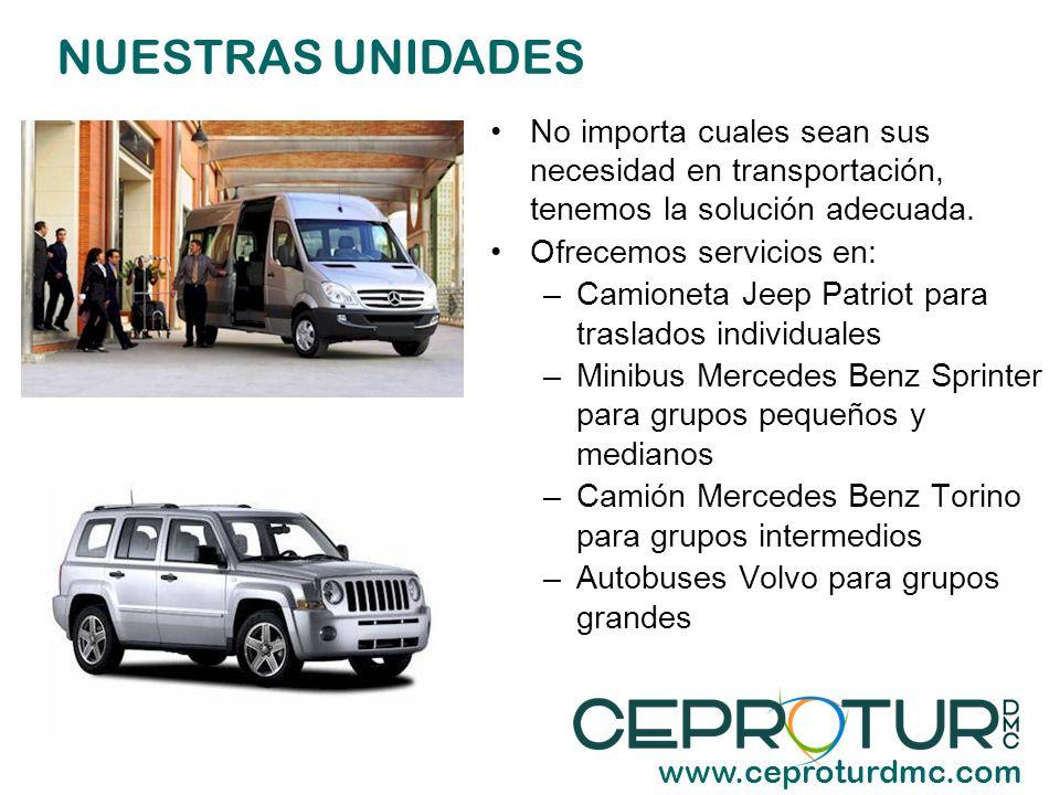 NUESTRAS UNIDADES No importa cuales sean sus necesidad en transportación, tenemos la solución adecuada.