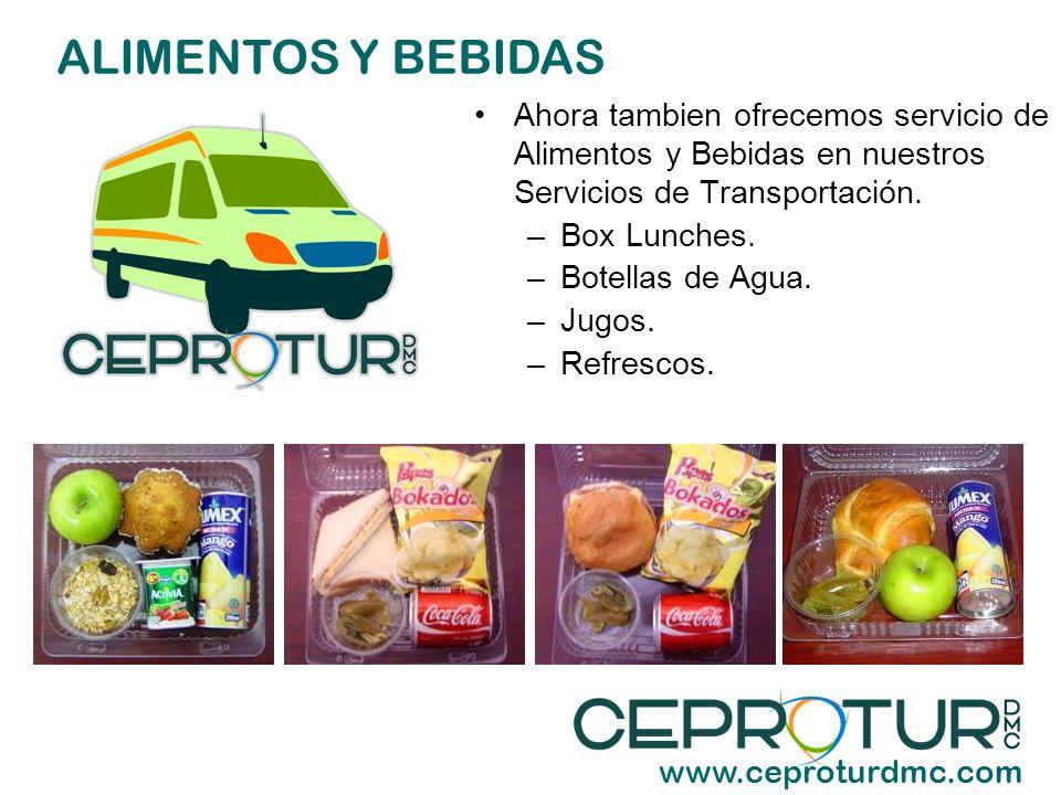 ALIMENTOS Y BEBIDAS Ahora tambien ofrecemos servicio de Alimentos y Bebidas en nuestros Servicios de Transportación.
