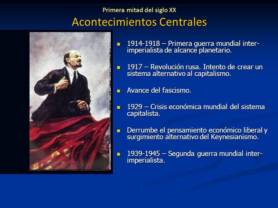 Primera mitad del siglo XX Acontecimientos Centrales