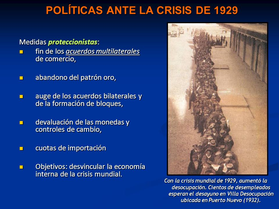 POLÍTICAS ANTE LA CRISIS DE 1929