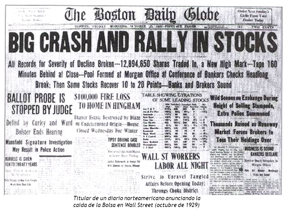 Titular de un diario norteamericano anunciando la caída de la Bolsa en Wall Street (octubre de 1929)