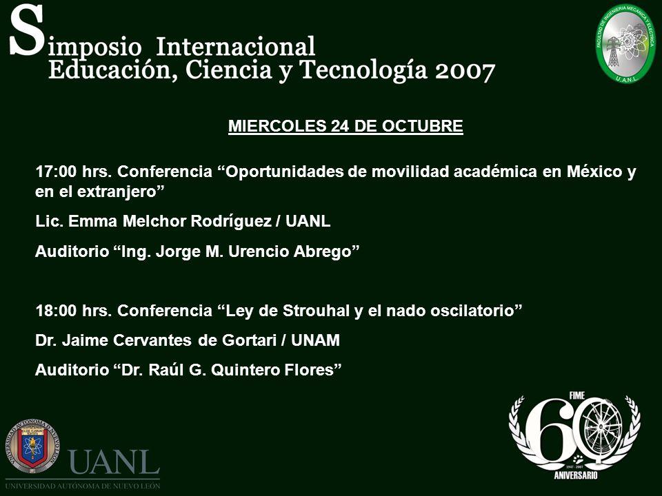 MIERCOLES 24 DE OCTUBRE 17:00 hrs. Conferencia Oportunidades de movilidad académica en México y en el extranjero
