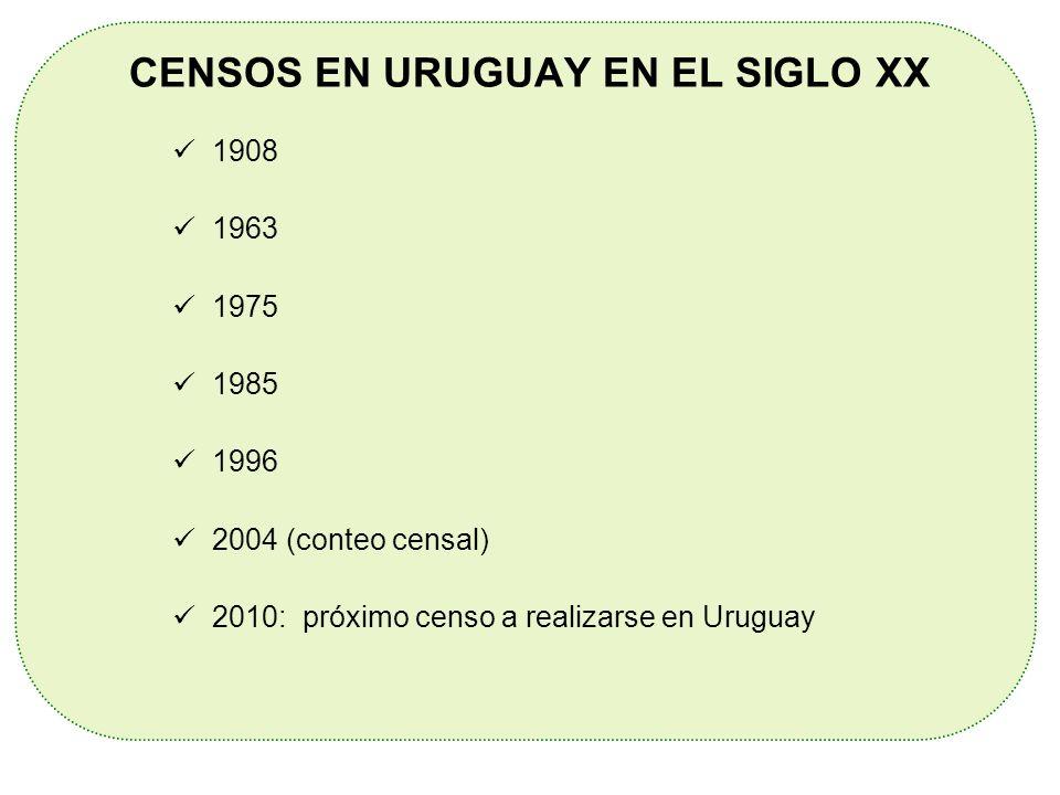 CENSOS EN URUGUAY EN EL SIGLO XX