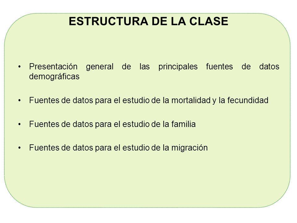 ESTRUCTURA DE LA CLASE Presentación general de las principales fuentes de datos demográficas.