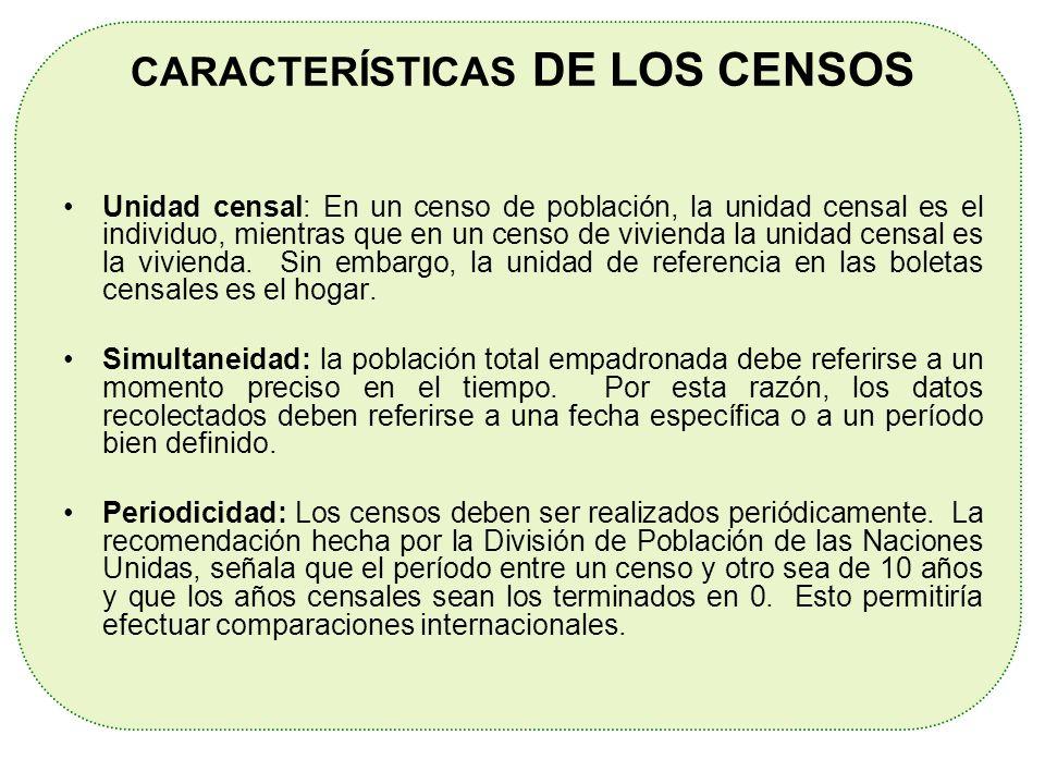 CARACTERÍSTICAS DE LOS CENSOS