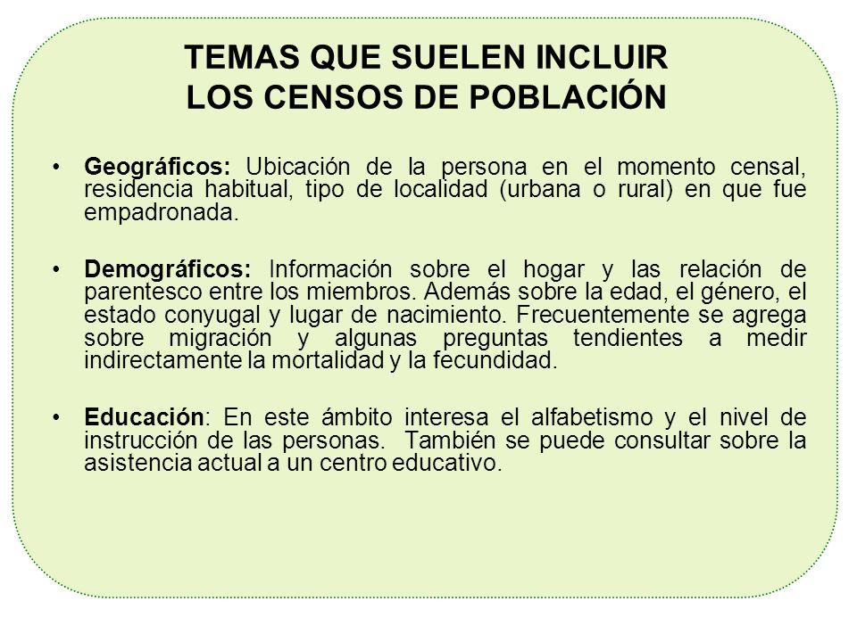 TEMAS QUE SUELEN INCLUIR LOS CENSOS DE POBLACIÓN