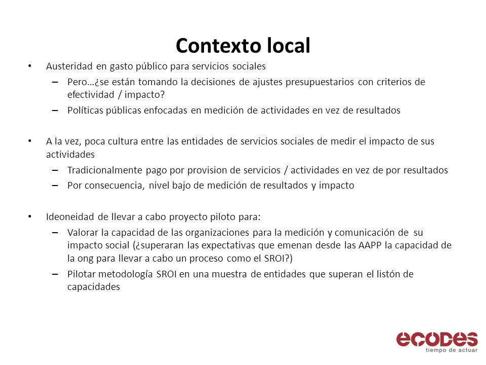 Contexto local Austeridad en gasto público para servicios sociales