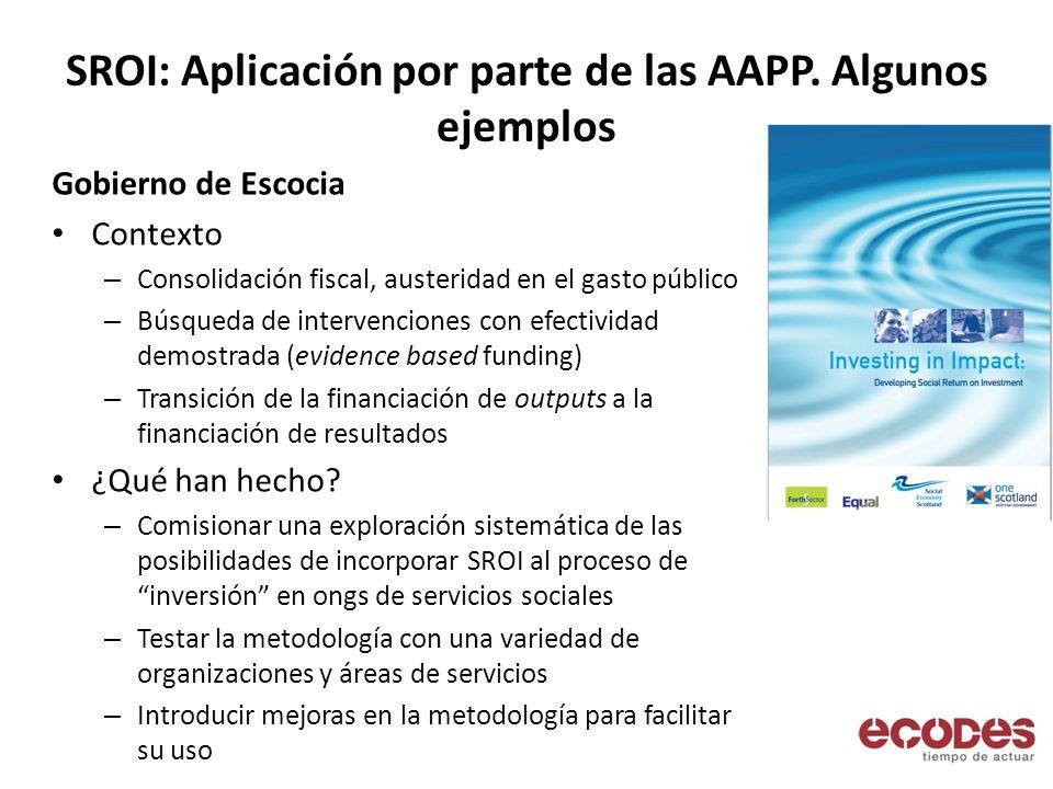 SROI: Aplicación por parte de las AAPP. Algunos ejemplos