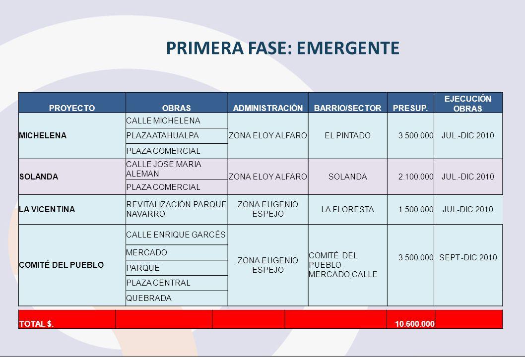 PRIMERA FASE: EMERGENTE