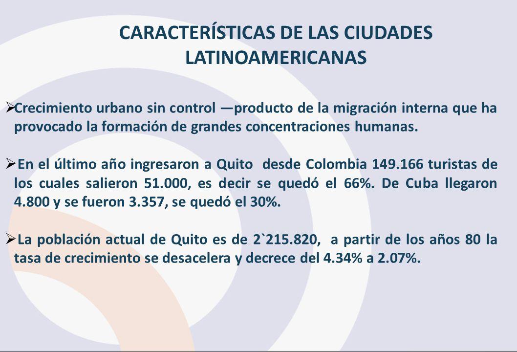 CARACTERÍSTICAS DE LAS CIUDADES LATINOAMERICANAS