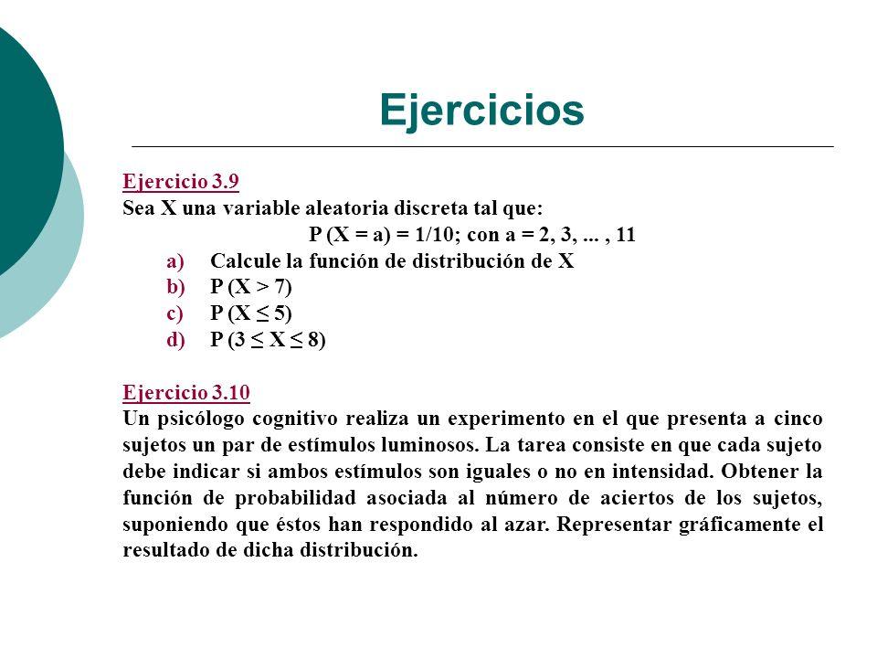 Ejercicios Ejercicio 3.9. Sea X una variable aleatoria discreta tal que: P (X = a) = 1/10; con a = 2, 3, ... , 11.