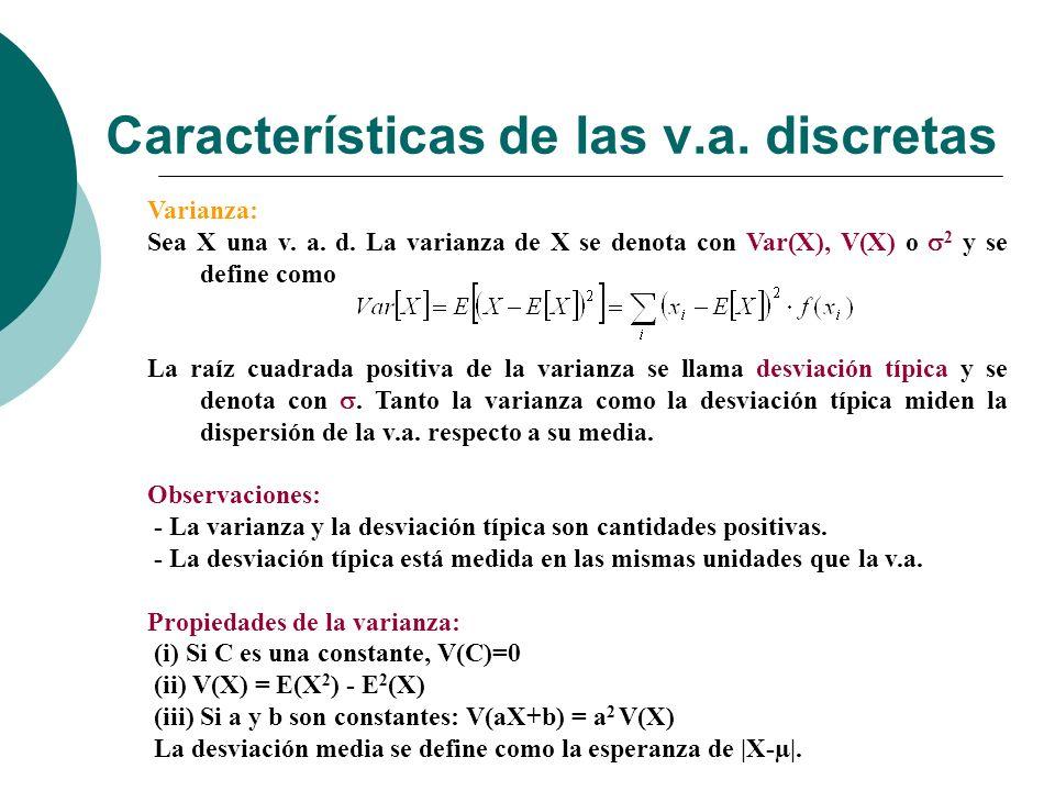 Características de las v.a. discretas