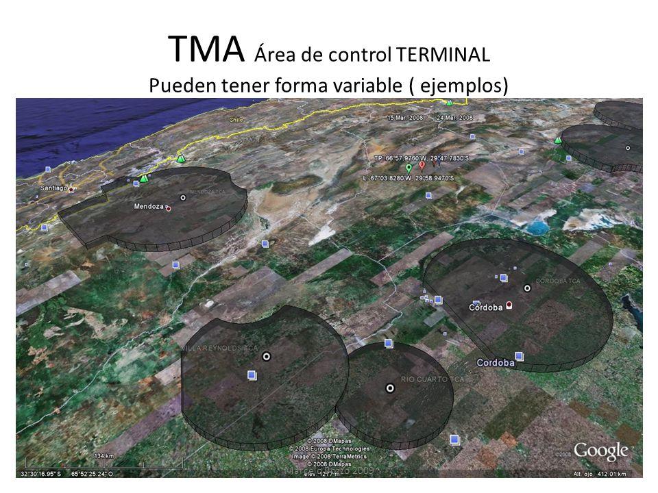TMA Área de control TERMINAL Pueden tener forma variable ( ejemplos)