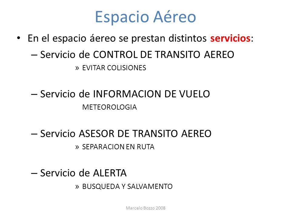 Espacio Aéreo En el espacio áereo se prestan distintos servicios: