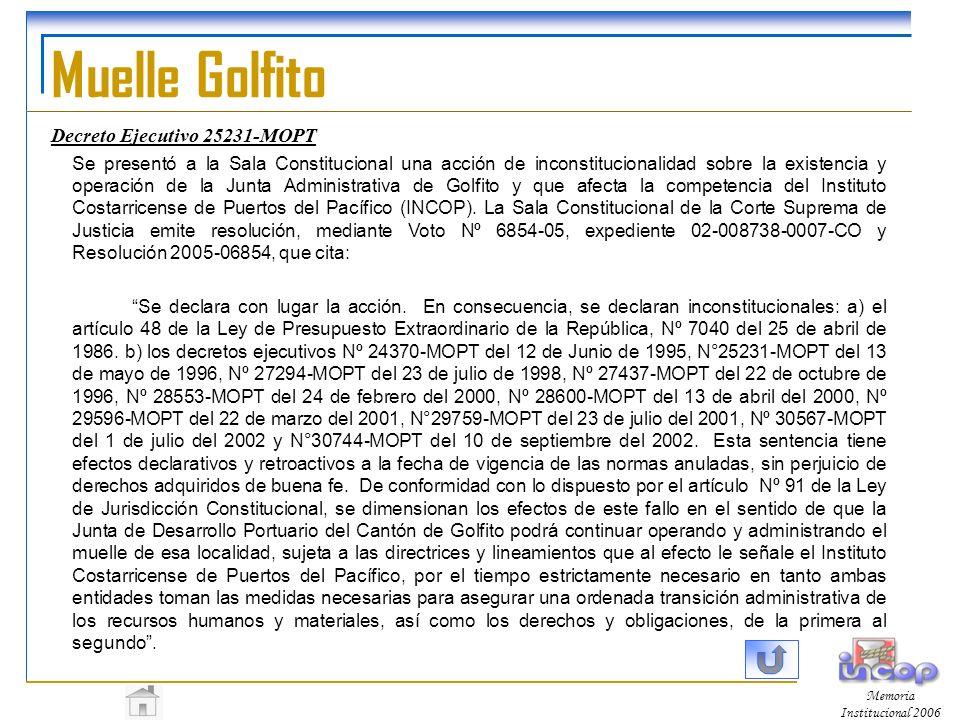 Muelle Golfito Decreto Ejecutivo 25231-MOPT