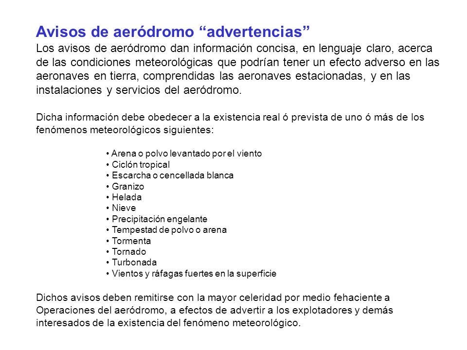 Avisos de aeródromo advertencias