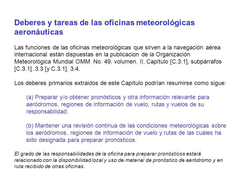 Deberes y tareas de las oficinas meteorológicas aeronáuticas