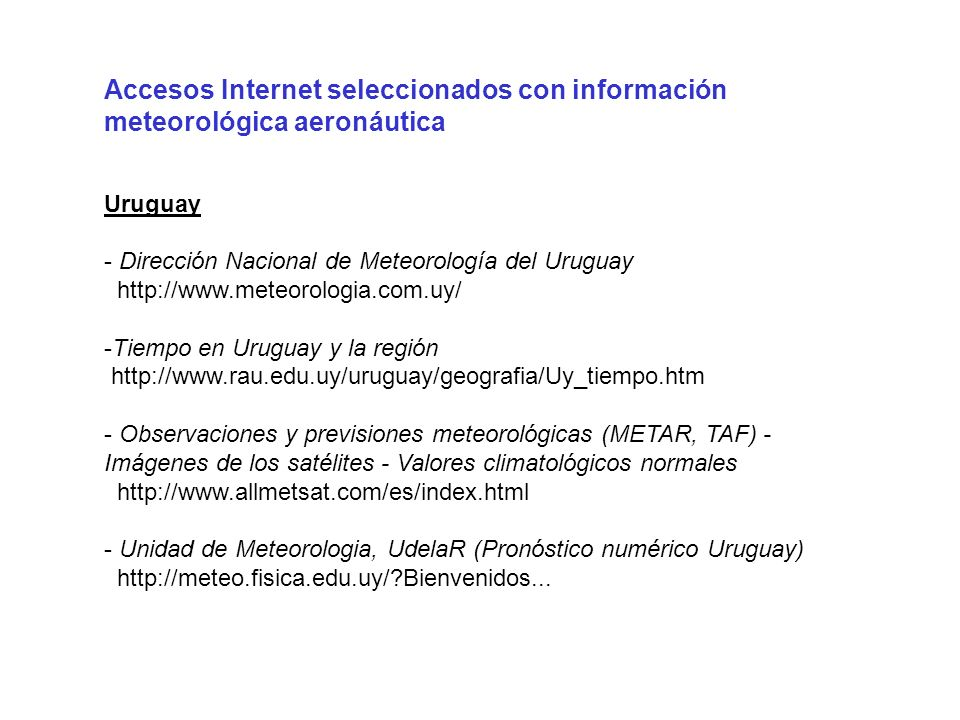 Accesos Internet seleccionados con información meteorológica aeronáutica