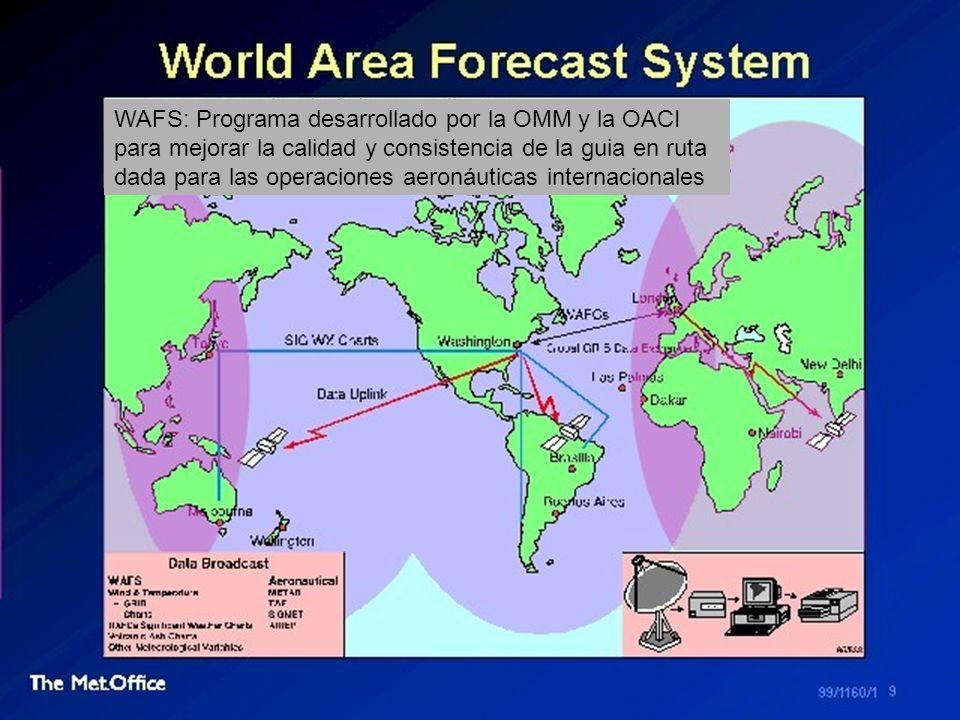 WAFS: Programa desarrollado por la OMM y la OACI para mejorar la calidad y consistencia de la guia en ruta dada para las operaciones aeronáuticas internacionales