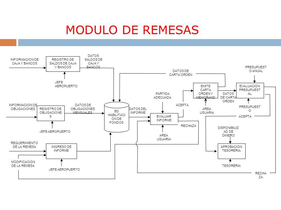 MODULO DE REMESAS DATOS DE CARTA ORDEN DATOS DEL INFORME