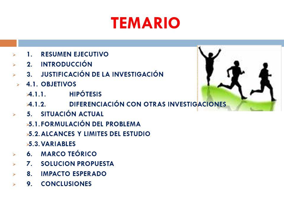 TEMARIO 1. RESUMEN EJECUTIVO 2. INTRODUCCIÓN
