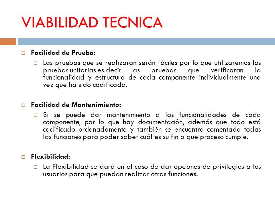 VIABILIDAD TECNICA Facilidad de Prueba: