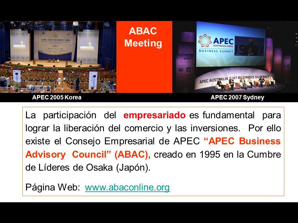 APEC 2007 SydneyABAC. Meeting. APEC 2005 Korea.