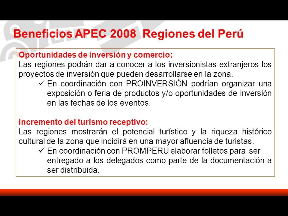 Beneficios APEC 2008 Regiones del Perú