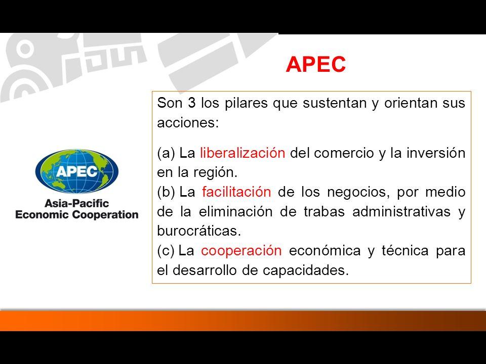 APEC Son 3 los pilares que sustentan y orientan sus acciones: