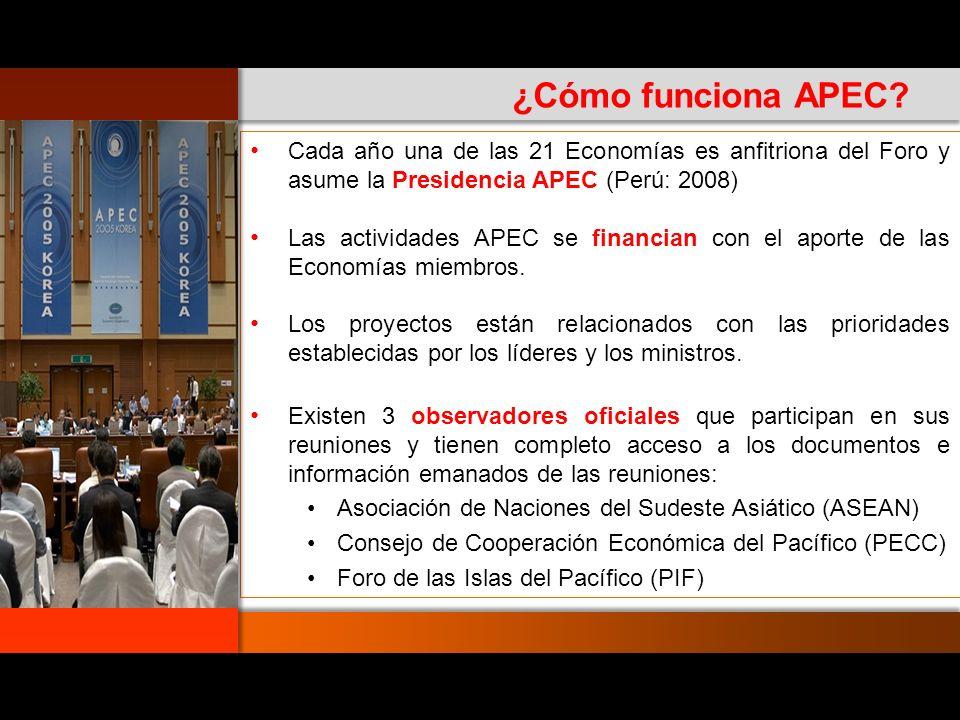 Cada año una de las 21 Economías es anfitriona del Foro y asume la Presidencia APEC (Perú: 2008)