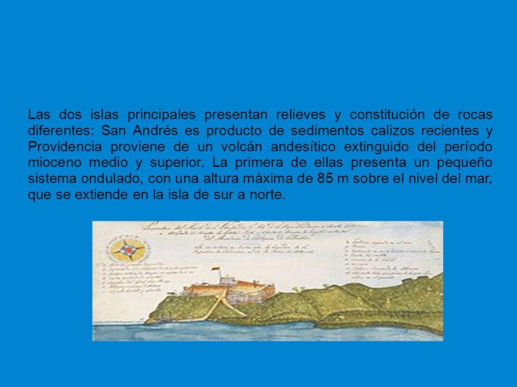 Las dos islas principales presentan relieves y constitución de rocas diferentes: San Andrés es producto de sedimentos calizos recientes y Providencia proviene de un volcán andesítico extinguido del período mioceno medio y superior.