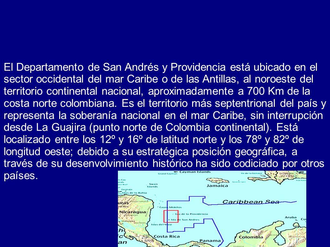 El Departamento de San Andrés y Providencia está ubicado en el sector occidental del mar Caribe o de las Antillas, al noroeste del territorio continental nacional, aproximadamente a 700 Km de la costa norte colombiana.