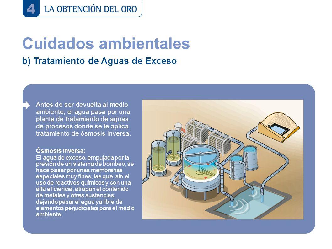 Cuidados ambientales b) Tratamiento de Aguas de Exceso