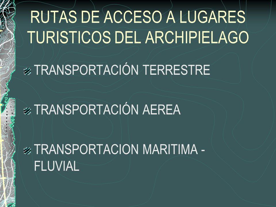RUTAS DE ACCESO A LUGARES TURISTICOS DEL ARCHIPIELAGO